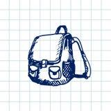 Cartable tiré par la main de griffonnage Contour bleu de stylo, fond de carnet Élève, étudiant, école, éducation Photos stock