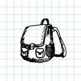 Cartable tiré par la main de griffonnage Contour noir de stylo, fond de carnet Élève, étudiant, école, éducation Images libres de droits