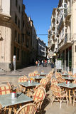 Cartagena. Old town street and restaurant tables in Cartagena, Spain Stock Photography