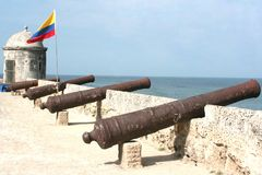 Cartagena Cannons. Cannons protecting Cartagena de Indias Stock Photography