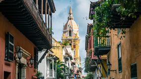 Cartagena City Cathedral Church Colombia South America. Very much one of the main tourist attractions and points of interest in the area stock photography