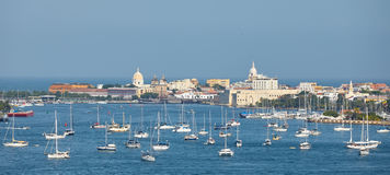 Cartagena city. City of Cartagena, the old port with boats stock photography
