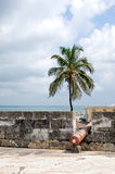 Cartagena city walls. Architectural details of Cartagena city walls with cannon in embrasure overlooking sea, Colombia Stock Photo