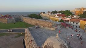 CARTAGENA, COLOMBIA: AERIAL VIEW OF THE CITY WALL AT SUNSET