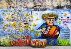 CARTAGENA, COLOMBIA, 3 AUGUST, 2018: Hipster Getsemani - Street Art local. The city of Cartagena, known in the colonial era as Cartagena de Indias, is a major royalty free stock images