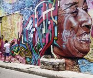 CARTAGENA, COLOMBIA, 3 AUGUST, 2018: Hipster Getsemani -  Street Art local. The city of Cartagena, known in the colonial era as Cartagena de Indias, is a major stock photos