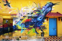 CARTAGENA, COLOMBIA, 3 AUGUST, 2018: Hipster Getsemani -  Street Art local. The city of Cartagena, known in the colonial era as Cartagena de Indias, is a major stock photo