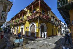View of the streets of Cartagena, Colombia. royalty free stock photography