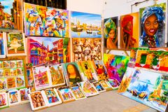 CARTAGENA, COLOMBIA 22, 2017: Close up of some paintings in a public place in Cartagena city street of Cartagena Walled. City Stock Photography