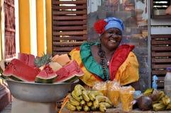 CARTAGENA, COLOMBIA - JULI 30: De Palenqueravrouw verkoopt fruit op 30 Juli, 2016 in Cartagena, Colombia Palenqueras is uniek stock afbeeldingen