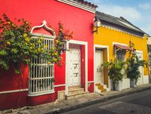 Colorful building facades of old town in Cartagena , Colombia. Cartagena, Colombia - march 2019: Street scene and colorful building facades of old town in royalty free stock photography