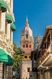 A typical view of Cartagena Colombia. Cartagena, Colombia. march 2018. A view of the pink domed cathedral of Cartagena in Cartagena Colombia royalty free stock photography