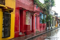 Cartagena Colombia, Old City, Travel. Colorful Spanish colonial architecture in the old town or city of Cartagena, Colombia. South America is a popular tourist stock image