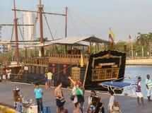 Cartagena Colombia, piratkopierar spansk gallion av Bucanero Royaltyfri Bild