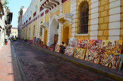 Cartagena, Colombia. Selling Colombian Art in the streets of Cartagena royalty free stock photos