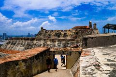 CARTAGENA, COLOMBIA 22, 2017: Unidentified people walking in the historic castle of San Felipe De Barajas on a hill Royalty Free Stock Photography