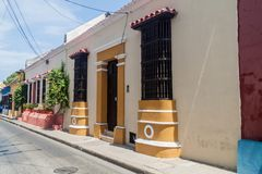 Cartagena, Colombia. View of the colorful houses in center of Cartagena, Colombia stock photo