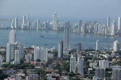 Cartagena, Colombia. A view of the new building of modern Cartagena, Colombia stock photo