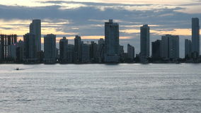 Cartagena - Columbia  Skyscapers. Shoreline of Playa de Boca Grande in Cartagena, Colombia. Highrises, hotels and apartments can be seen along the coast stock footage