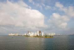 Cartagena de Indias. Cityscape of Cartagena de Indias city viewed from ocean, Bolivar department, Colombia Royalty Free Stock Photos