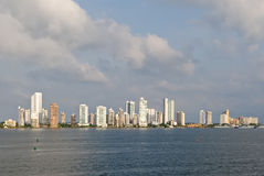 Cartagena de Indias. Cityscape of Cartagena de Indias viewed from ocean, Bolivar department, Colombia Royalty Free Stock Photo