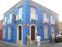 Cartagena de Indias gammalt blåttbyggande Royaltyfri Fotografi