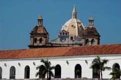 Cartagena de Indias skyline. Historic building rooftops in city of Cartagena de Indias, Bolivar region, Colombia Royalty Free Stock Photos