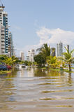 Cartagena flooded street stock photography