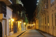 Walking around at night in the streets of Cartagena royalty free stock image