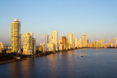 Cartagena in the morning light. Skyline of Cartagena in the morning light Royalty Free Stock Images