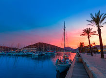 Cartagena Murcia port marina sunset in Spain Royalty Free Stock Images