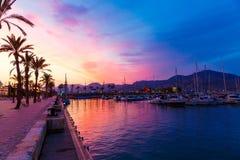 Cartagena Murcia port marina sunset in spain Stock Photos