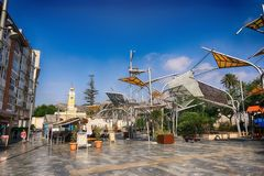 Cartagena, Murcia, Spain - August 01 2018: The artificial forest of Plaza del Rey, built by architect Bernardino García in 2010 i. N the city of Cartagena royalty free stock photos