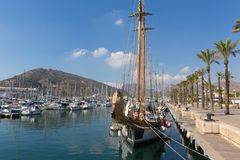 Cartagena Murcia Spain with boat with sail in the port royalty free stock photography