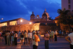 Cartagena at night. People on the old city of Cartagena, Colombia royalty free stock photos