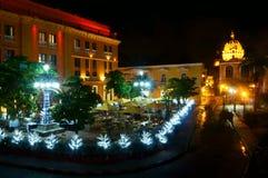 Cartagena på natten Arkivbild