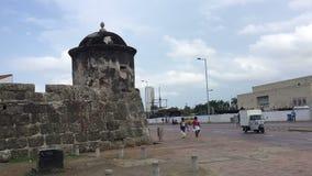 Cartagena pan left to city walls stock video footage
