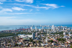 Cartagena Panorama. Panoramic view of the modern section of Cartagena, Colombia royalty free stock photo
