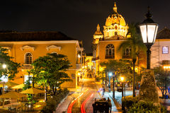 Cartagena Plaza at Night. Plaza in the historic center of Cartagena, Colombia taken at night time Royalty Free Stock Photography
