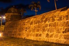 Cartagena's wall at dusk. Wall of Cartagena de Indias at dusk - Colombia Stock Photos
