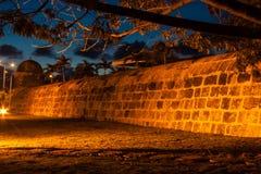 Cartagena's wall at dusk. Wall of Cartagena de Indias at dusk - Colombia Stock Images