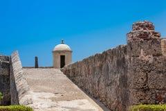 Cartagena's wall. Ramp to access the wall of Cartagena de Indias Stock Image