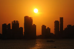 Cartagena Skyline. Sunset skyline of Cartagena (Columbia) out of the harbour Stock Photography