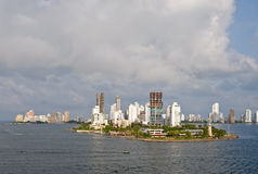 Cartagena skyline Colombia. Scenic view of Cartagena city skyline viewed from ocean, Colombia Stock Photography