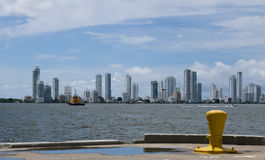 Cartagena skyline from container port Royalty Free Stock Photos