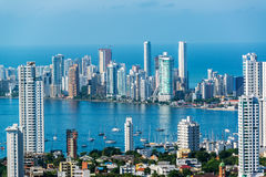 Cartagena Skyscapers. View of skyscrapers in the Bocagrande neighborhood of Cartagena, Colombia Stock Image