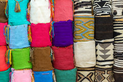 Cartagena Souvenirs. Souvenir bags for sale in Cartagena, Colombia. They are called 'mochilas' and are typical of the Wayuu Indians stock image