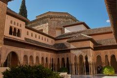 Courtyard of the Myrtles Patio de los Arrayanes in La Alhambra. CARTAGENA, SPAIN - APRIL 11, 2017: Courtyard of the Myrtles Patio de los Arrayanes in La Alhambra Stock Photo
