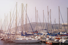 CARTAGENA, SPAIN - MAY, 12 - 2009: Beautiful marina in Cartagena, Spain. Luxury yachts and expensive motorboats.Cartagena - The Me Royalty Free Stock Images