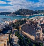 Cartagena, Spanien Panorama der Stadt mit Ansichten des mountai lizenzfreies stockfoto